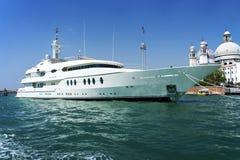 Large white motor yacht Stock Photo