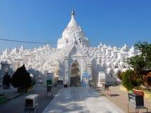 Myanmar, Large white painted Buddhist Pagoda Hsinbyume or Myatheindan , Mingun Royalty Free Stock Photos