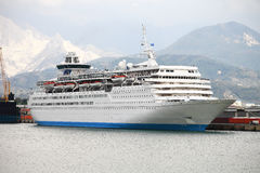 Large white passengers cruise ship Stock Photography
