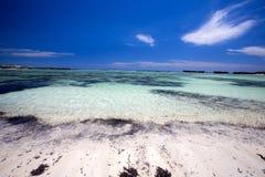 Large white sand beach, Amoronia orange bay, Indian Ocean, north of Madagascar Royalty Free Stock Photos