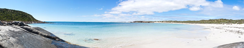 Large white sand beach panorama Stock Photos