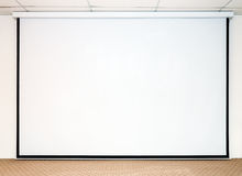 Large white screen. For presentation on the stage Stock Photography