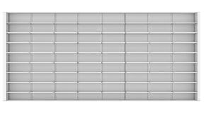 Large white shelves. 3d render isolated on white background Stock Image