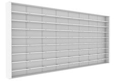 Large white shelves. 3d render isolated on white background Royalty Free Stock Photography