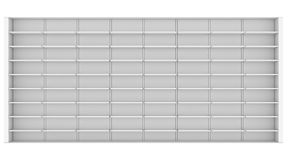 Large white shelves. 3d render isolated on white background Stock Photos