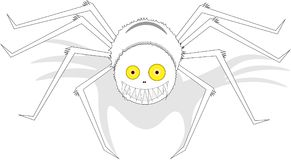 Large white smiling spider with yellow eyes, on isolated background. royalty free illustration