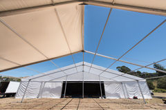 Large white tent for entertaining in field. A large white tent in a grass field for parties and entertaining Stock Photos