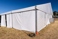 Large white tent for entertaining in field. A large white tent in a grass field for parties and enteraining Stock Images
