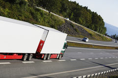 Large white truck on a scenic freeway route Stock Image