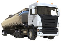 Large white truck tanker with a polished metal trailer. Views from all sides. 3d illustration. Large white truck tanker with a polished metal trailer. Views Stock Photos