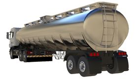 Large white truck tanker with a polished metal trailer. Views from all sides. 3d illustration. Large white truck tanker with a polished metal trailer. Views Royalty Free Stock Photo
