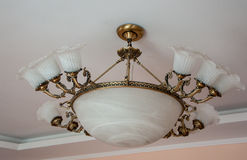 A large white vintage chandelier Royalty Free Stock Image