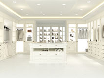Large white wardrobe. 3d rendering Stock Photo