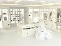 Large white wardrobe. 3d rendering Stock Photography