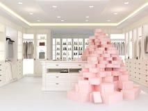 Large white wardrobe. 3d rendering Royalty Free Stock Images