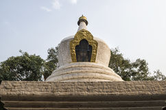 Large white-washed stupa and bodhi tree in the first courtyard of Punakha Dzong, Bhutan. The Punakha Dzong, also known as Pungtang Dechen Photrang Dzong Royalty Free Stock Image