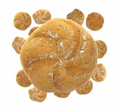 A large whole wheat roll over smaller rolls Stock Photography