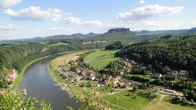 Large wide river in the background of a mountain royalty free stock photography