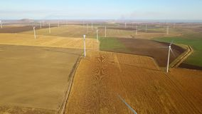 Large wind farm aerial view stock video