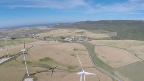 Large wind farm,aerial view stock video