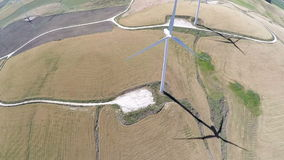 Large wind farm,aerial view stock footage