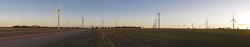 Large wind farm panorama Royalty Free Stock Images