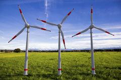 Wind generators. Large wind generators for generating energy Stock Image
