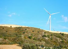 Large windmill on the hill sunny day Royalty Free Stock Photography