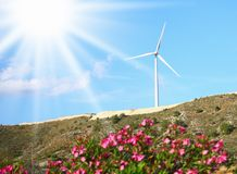 Large windmill on the hill sunny day Royalty Free Stock Images
