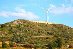 Large windmill on the hill sunny day Stock Images
