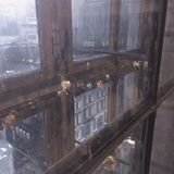 Rainy window in Moscow Telegraph Royalty Free Stock Photography