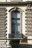 Large Window, Building Facade In Paris, France. Typical Old French Building Facade With Large Window In Paris, France stock photo