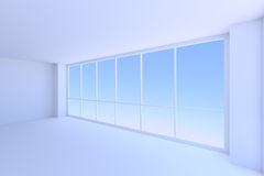 Large window of empty blue business office room Royalty Free Stock Images