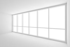 Large window in empty white business office room with diagonal v. Business architecture white colorless office room interior - large window in empty white Royalty Free Stock Photo