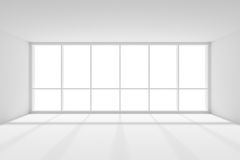 Large window in empty white room with sunlight Stock Photo