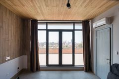 Large window. Entrance to the terrace royalty free stock image