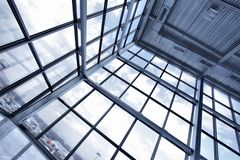 Large window of industrial building. Close up stock photos