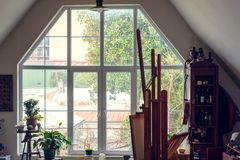 Large window. Interior with a large window stock photos