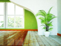 A large window, a plant and a partition. Room with a large window, a plant and a partition Royalty Free Stock Images