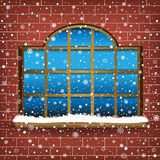 Large window and snow Royalty Free Stock Photography