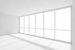 Large window with sunlight in empty white room. Business architecture white colorless office room interior - large window with sunlight in empty white business Stock Photo