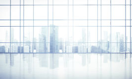 Large window into white office Royalty Free Stock Images