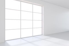 Large window in white room with a bright light. 3D rendering Stock Images