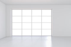 Large window in white room with a bright light. 3D rendering Royalty Free Stock Images