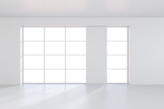 Large window in white room with a bright light. 3D rendering Stock Photo
