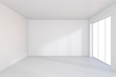 Large window in white room with a bright light. 3D rendering Royalty Free Stock Photo