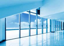 Large windows office. The internal structure of modern urban architecture royalty free stock photo