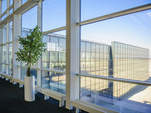 Large windows overlooking the Donetsk airport Royalty Free Stock Photo