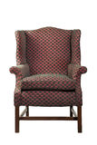 Large wing chair upholstered in red old antique isolated Royalty Free Stock Photography