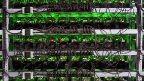 Large wired internet datacenter storage. ASIC miners on stand racks mine bitcoin in server room. Cryptocurrency mining